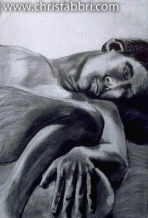 1996 Curled Up, charcoal on paper 40″x30″