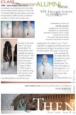 2009 write up on Chris Fabbri from Class of 1996 at New England School of Art & Design, Boston   New Clairvaux, Vina, CA.