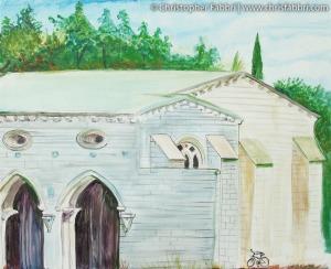 2010 New Clairvaux, Vina, California, acrylic on canvas 16″x20″