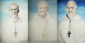 2009 Chris Fabbri portrait paintings of the first 3 Abbots of New Clairvaux Abbey 7th St. Vina, California