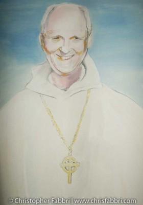 2009 Bernard Johnson, second Abbot of New Clairvaux Abbey, acrylic on canvas 36″x24″