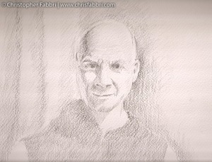 2009 Thomas Merton (RIP 1915-1968) pencil on paper 11″x14″ New Clairvaux art collection