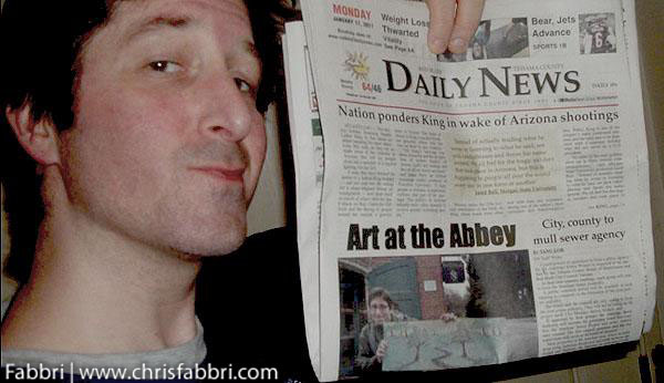 2011 January front page, Red Bluff Daily News  Artist Chris Fabbri at the Abbey of New Clairvaux in Vina, California