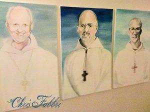 "2009 Dom Eusebius Wagoner, Bernard Johnson, Thomas X. Davis, first three Abbots of New Clairvaux, acrylic on canvas 36""x24"" www.newclairvaux.org"