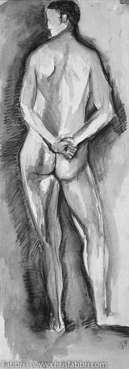 """1996 Back of a Male, ink, pastel and chalk on paper 24""""x7"""""""