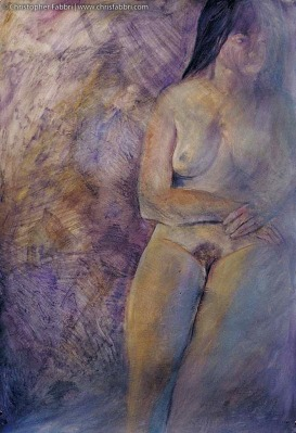 "1996 Exposed Lady, oil and acrylic on paper, 48""x36"""