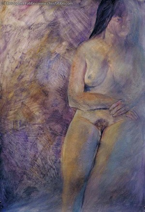 """1996 Exposed Lady, oil and acrylic on paper, 48""""x36"""""""