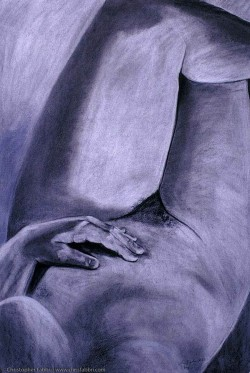"1996 Female (Legs Crossed), pastel and charcoal on paper 40""x30"""