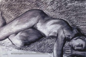 "1996 Sweet Slumber, pastel and charcoal on paper 36""x48"" •"