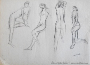 "1993 Four Figures, charcoal on newsprint 18""x24"""