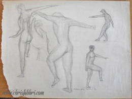 "1993 Four Figures and a Hand, pencil on paper 18""x24"""