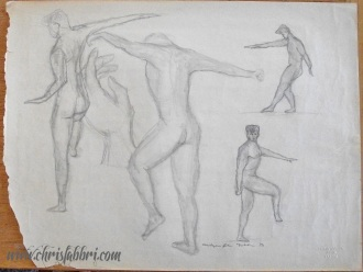 """1993 Four Figures and a Hand, pencil on paper 18""""x24"""""""