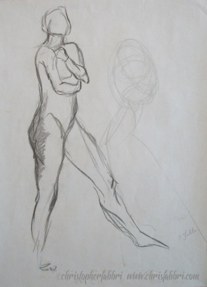 """1994 Hugging the Book, charcoal on paper, 19""""x15"""""""