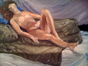 "1996 Lady on a Bed, oil and acrylic on canvas 16""x20"" •"