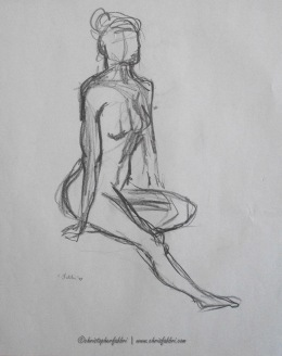 "1994 Lady Seated 1, pencil on paper, 14 1/2"" x18"""