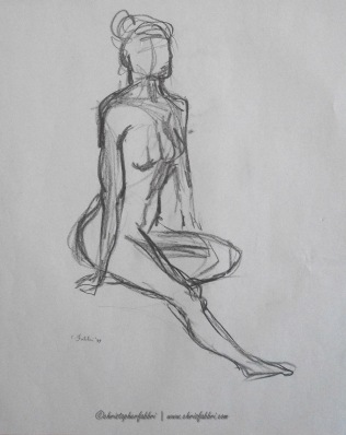 """1994 Lady Seated 1, pencil on paper, 14 1/2"""" x18"""""""