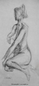"1994 Lady Seated 2, pencil on paper 20""x9"""