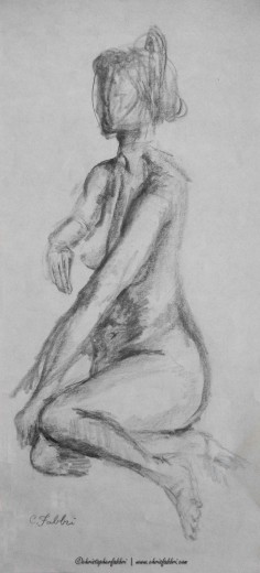 """1994 Lady Seated 2, pencil on paper 20""""x9"""""""