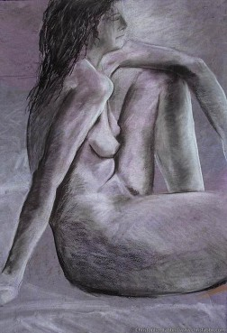 "1996 Nude Female, Leaning and Looking, pastel and charcoal on paper 40""x30"""