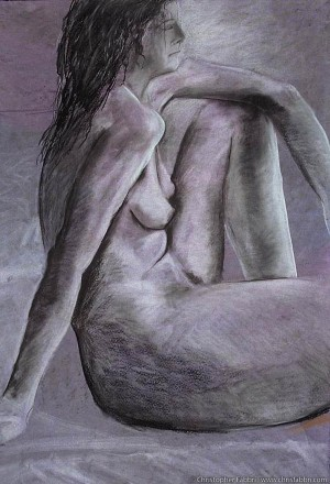 """1996 Nude Female, Leaning and Looking, pastel and charcoal on paper 40""""x30"""""""
