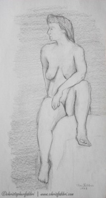 "1993 Nude Lady Seated Aside 1, pencil on paper 14""x7 1/2"""