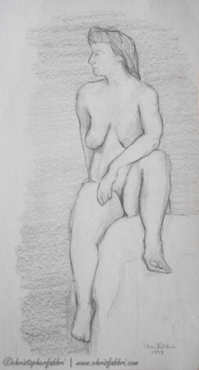 """1993 Nude Lady Seated Aside 1, pencil on paper 14""""x7 1/2"""""""