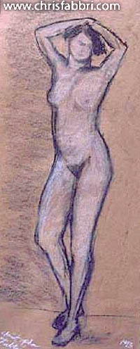 """1993 Nude Lady, pastel and charcoal on paper 20""""x7"""""""