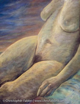 1996 Nude on a Towel, pastel on paper 40″x30″