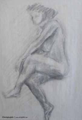 "1994 Seated Relaxed with Legs Crossed, pencil on newsprint 20""x16"""