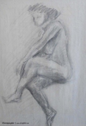 """1994 Seated Relaxed with Legs Crossed, pencil on newsprint 20""""x16"""""""