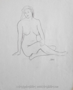 "1994 Sitting in Ease, pencil on paper, 18""x14 3/4"""