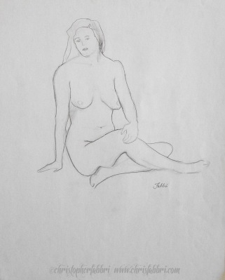 """1994 Sitting in Ease, pencil on paper, 18""""x14 3/4"""""""