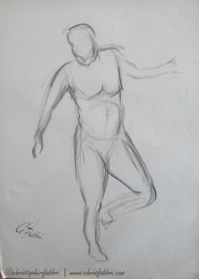 "1993 Stepping, charcoal on newsprint 24""x18"""