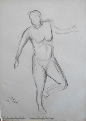 "1993 Stepping, charcoal on newsprint 24""x18"""