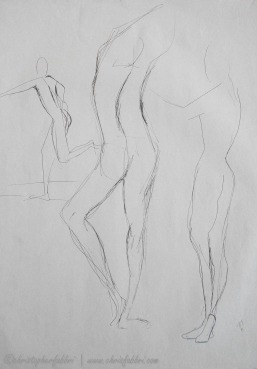 "1995 Three Figures 2, ink on paper, 24""x18"""