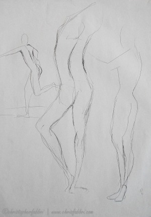 """1995 Three Figures 2, ink on paper, 24""""x18"""""""