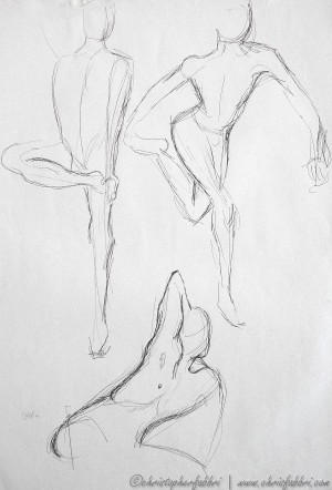 """1995 Three Figures 3, ink on paper, 24""""x18"""""""