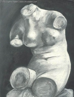 "1993 Torso, pastel and charcoal on paper 24""x18"""