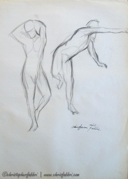 1993 Two Figures, charcoal on paper, 24″x18″
