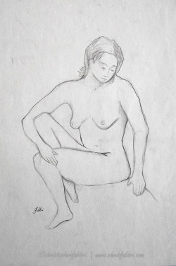 "1994 Undressed, pencil on paper, 18""x14 3/4"""
