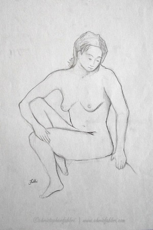 """1994 Undressed, pencil on paper, 18""""x14 3/4"""""""