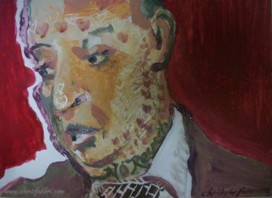 "2013 Rodney Dangerfield, acrylic on plastic 8 1/2""x12"""