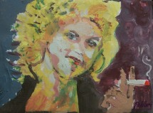 "2013 Sandra Dee, acrylic on cardboard box 8""x11"""
