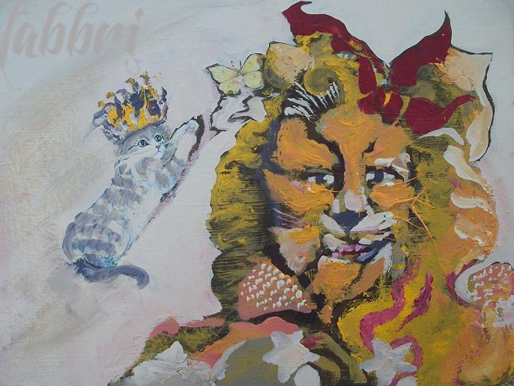 """2013 Cowardly Lion, acrylic on wood 11""""x15"""""""