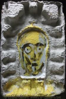 "2012 C3PO, acrylic on cardboard crate 12""x8"""