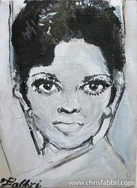 "2013 Diana Ross, acrylic on cardboard 8""x6"" •"