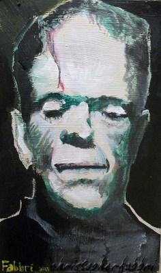"2013 Frankenstein, acrylic on cardboard 8""x5"" •"