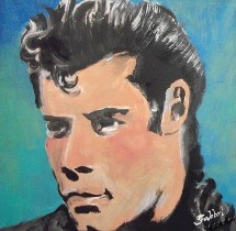 "2013 John Travolta, acrylic on cardboard 12""x12"""
