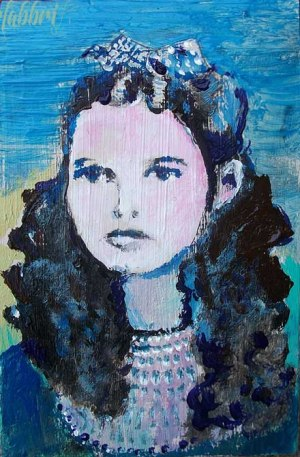 "2013 Judy Garland, acrylic on cardboard 9""x6"""