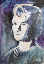 """2013 Patrick Swayze, acrylic on cardboard 12""""x8"""""""